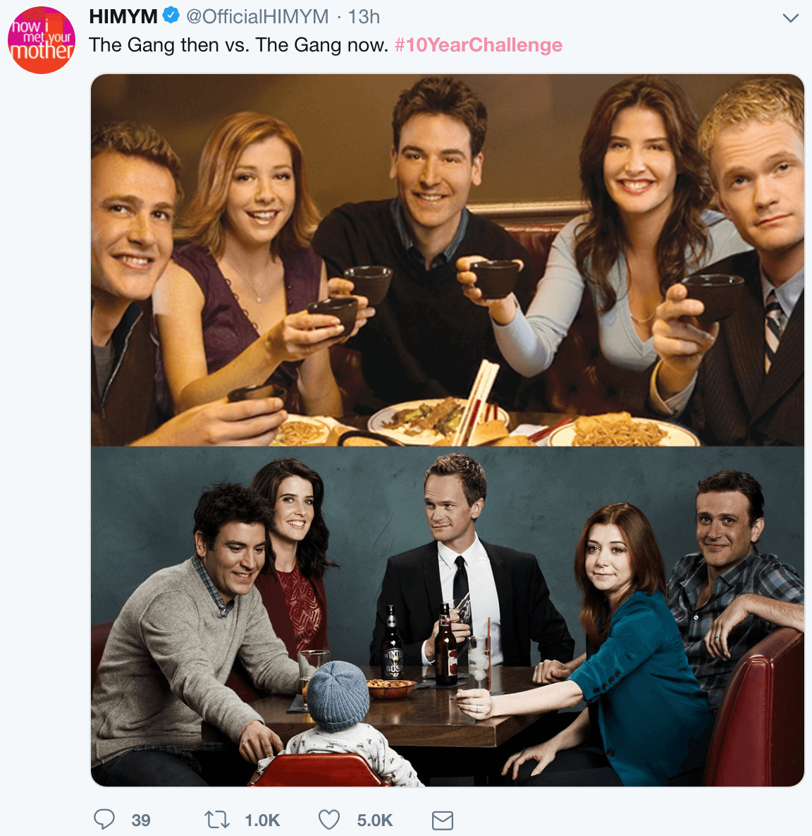 HIMYM cast 10 year challenge