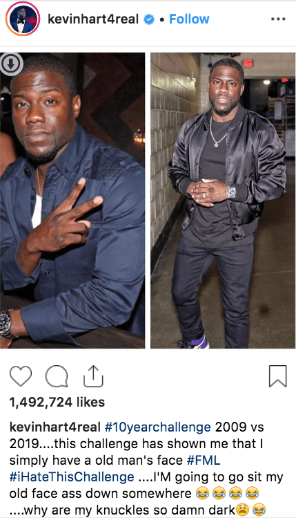 kevin hart 10 year challenge