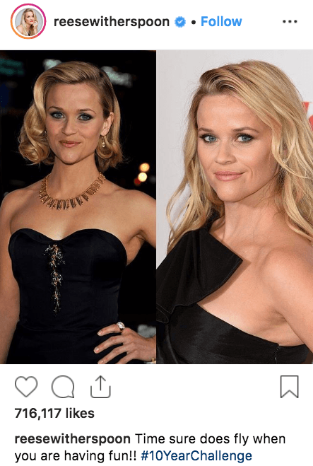 reese witherspoon 10 year challenge